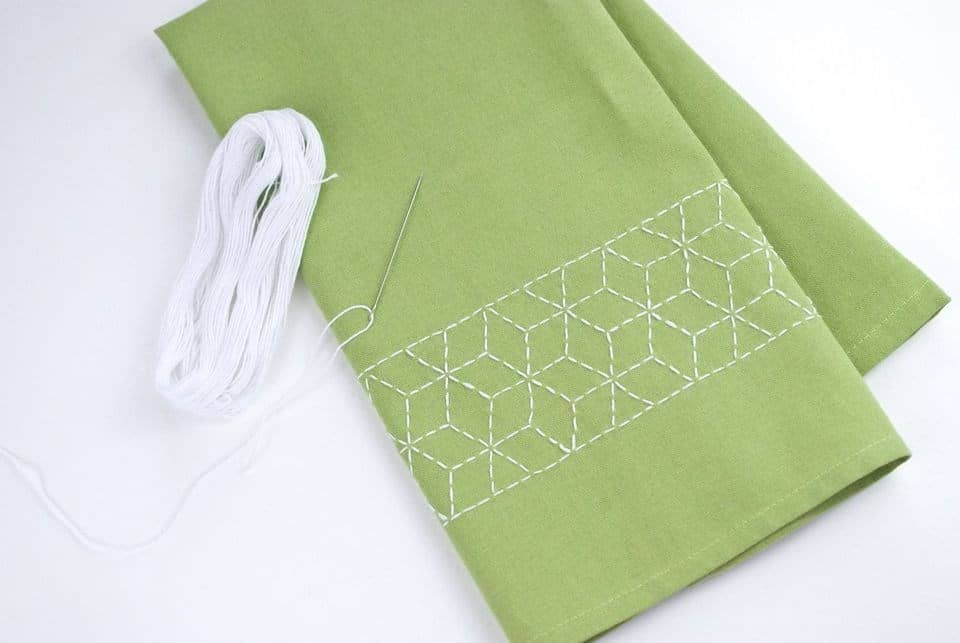 Japanese technique called Sashiko, which uses only basic running stitches to create amazing designs.