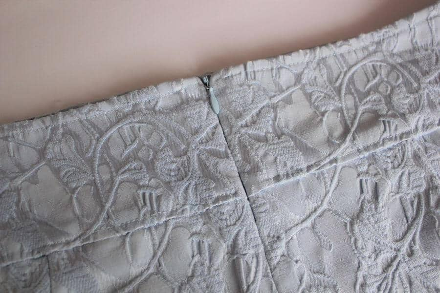 Pictures of zipper on a skirt
