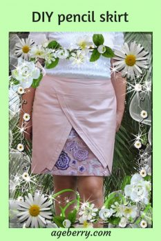 DIY pencil skirt from pink leather with silk lining and lace embellishment.