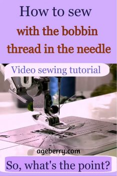 How to sew with a bobbin thread in the needle pin for Pinterest