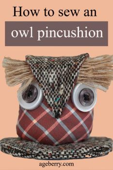 Owl pincushion tutorial and free pattern pin for Pinterest