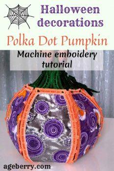 machine embroidery tutorial polka dot pumpkin