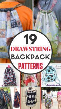 Drawstring backpack patterns and tutorials roundup
