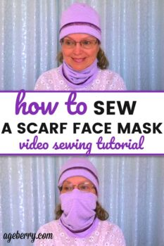 sewing tutorial on making DIY scarf face mask